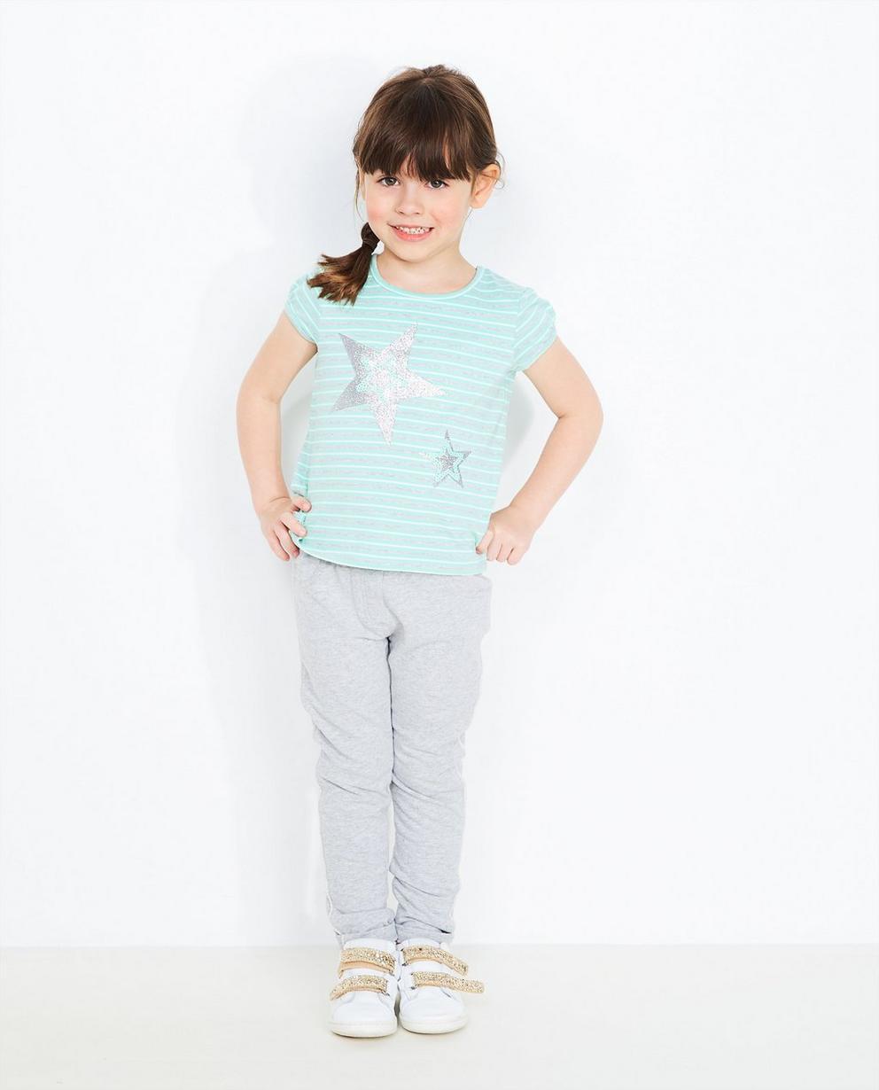 Gestreiftes T-Shirt - in Mintgrün-Grau-Weiß - JBC